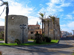 View of the 16th Century Catalan city walls surrounding the quaint town of Alghero
