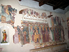 Religious frescoes inside the medieval chapel of San Pietro, Bosa