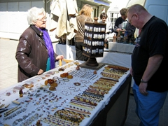 Preston checking out the selection of amber for sale; Old Riga