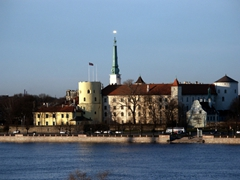 Riverfront view of Riga castle