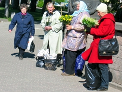 Flower vendors near the Freedom monument; Riga