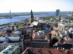 Ride an elevator up the 70 meter spiral of St Peter's Church for a panorama overlooking old Riga