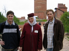 Robby and Jurak pose with Turaida castle guide, Sigulda