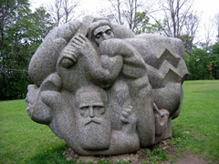 A sculpture at the Daina Hill Song Garden. The daina (poetic folk song) is a major Latvian tradition and the garden has numerous sculptures dedicated to Latvian heroes immortalised in the dainas; Turaida Museum Reserve