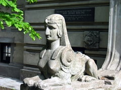 A female sphinx in the art nouveau district of Riga
