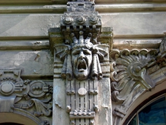 Detail on an Art Nouveau building; Riga