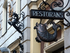 Latvian restaurant sign, Riga