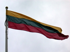 Lithuania's flag on proud display outside the town hall