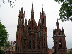 The 14th Century St Anne's Church, one of Vilnius' most recognizable landmarks