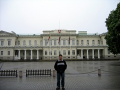 Robby standing in front of Lithuanian Parliament building, Vilnius