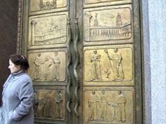Brass door to the library of Vilnius University