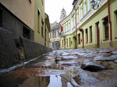 Cobblestoned streets of Vilnius after a downpour