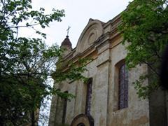 Facade of a fading church in old Vilnius