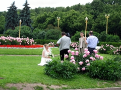 Posing for wedding photos in the garden of the Moscow State University