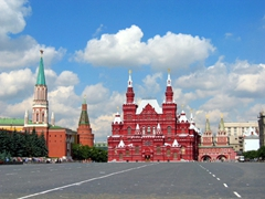 The Moscow State Historical Museum as seen from the Red Square. Millions of artifacts on are display here