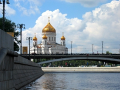 Cathedral of Christ the Saviour as seen from the Moskva River. It is the tallest Orthodox church in the world