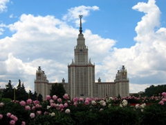 """At 240 meters tall, the Moscow State University building is the tallest educational building in the world. This edifice is one of the """"7 Sisters"""", a group of Moscow skyscrapers designed in the Stalinist/Gothic style"""