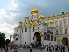 The gilded onion domes of the Annunciation Cathedral stand out in Cathedral Square. This cathedral connects directly to the main building of the Grand Kremlin Palace Complex