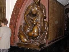One of many subway statues depicting traditional Russian scenes