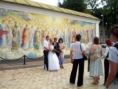 Wedding photos near St. Michael's murals