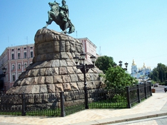 A monument of Bohdan Khmelnytsky with the golden domes of St Michaels in the background; St Sofia Square