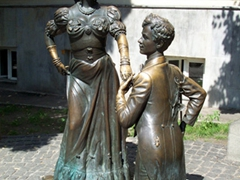 "Sculpture of Pronya Prokopovna and Golohvastov (two characters in a comedy ""For Two Hares"")"