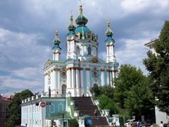 The beautiful St Andrew's Church, one of the prettiest in all of Kiev