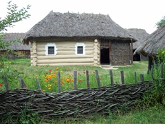 Fires are a constant threat to the thatch roofed huts and wooden buildings at the Pirogovo open air museum