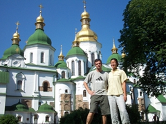 Posing outside the magnificent St. Sophia's Cathedral, Kiev