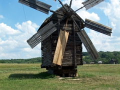 A reconstructed windmill at Pirogovo, an open air museum of folk architecture