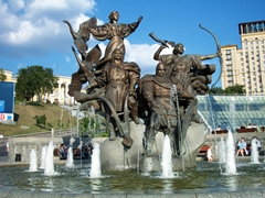 Fountain of the 4 founders of the city of Kiev (brothers Kie, Schek, Horiv and their sister Libed); Independence Square