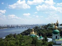 View of Kievo-Pecherska Monastery and Dnieper River
