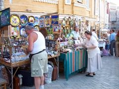 Souvenir vendors, Andriyivsky Uzviz Street