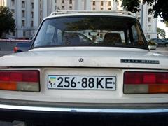 The ubiquitous lada showcasing a Ukrainian license plate