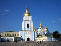 View of Saint Michael's golden domed monastery, located on the right bank of the Dnieper River