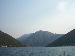 View of the fjord-like Bay of Kotor, a coastal city in Montenegro