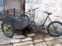 Transportation of a market vendor in old town Kotor