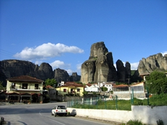 Background scenery in beautiful Kalambaka, the best place to base yourself in order to explore Meteora's monasteries
