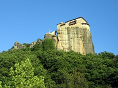 "Our first view of a Meteora monastery. Meteora means ""hanging from the air"" or ""in the heavens above"" and is an appropriate description"