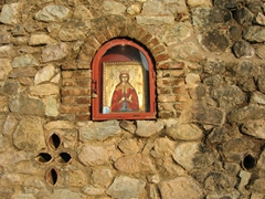 One of many religious icons that decorate Meteora's monasteries