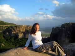 Becky admiring the phenomenal vistas of Meteora