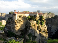 Sunset view of the Holy Monastery of Varlaam, which is the second largest monastery in Meteora