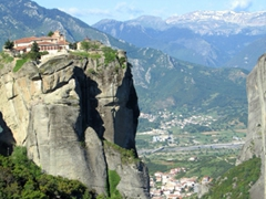Made famous by the James Bond movie, The Holy Trinity is one of the most dramatically positioned monasteries of Meteora. It is perched atop a slender pinnacle and accessible only by 140 steep steps