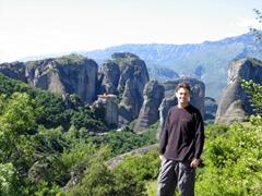 Robby strikes a pose in gorgeous Meteora
