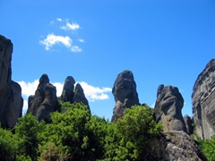 The monasteries of Meteora are built on natural sandstone rock pillars, found in central Greece in the plain of Thessaly