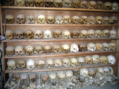 What a gruesome sight! Human skulls on display at the sacristy of the Great Meteoran Monastery (the remains of deceased monks, with each skull marked with the name of the brother)