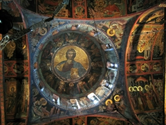 Golden icons of Christ painted inside the Church of the Transfiguration, Great Meteoran Monastery