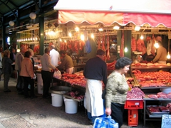 The meat market in downtown Thessaloniki