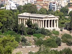 A view of the perfectly preserved classical temple of Hephaesteion (as seen from Areopagus Rock)