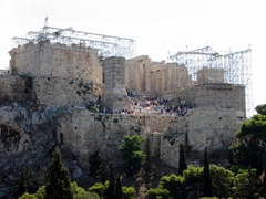 View of the acropolis from afar (notice the ugly scaffolding? Hopefully the next time we visit, the renovations will be complete)